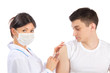 woman give flu vaccination or insulin injection shot