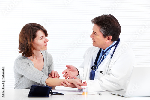 Doctor and patient woman.