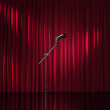 Red luxury curtains, art performance stage, theater awards
