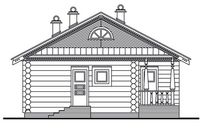 Detailed drawing of wooden sauna building front facade