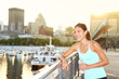 Woman city runner workout