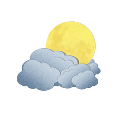 Grunge recycled paper moon and cloud on white background