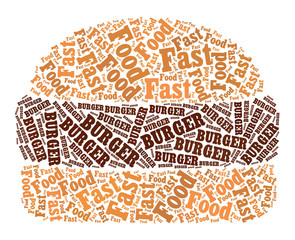 Burger text graphic and arrangement concept on white background