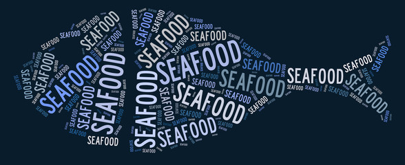 Seafood text graphic and arrangement concept