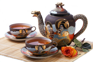 Tea set, Tea Cup with Teapot and Rose