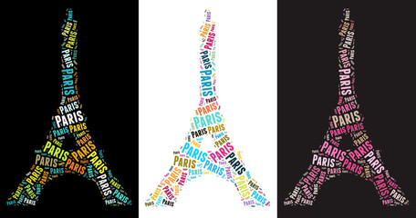 Eiffel Tower text graphic illustration. Very large file.
