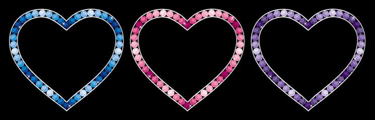 Sapphire, tourmaline, pink diamond, amethyst encrusted hearts