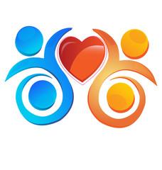 Team with a heart  logo