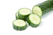 Fresh cucumber and slices isolated over white