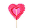 red heart-lollipop isolated on white