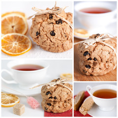 Homemade cookies and tea for a delicious breakfast. Collage.