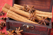 Spices: Anise Star, cinnamon and nutmeg in a chest