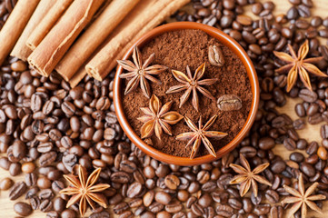 Star anise, cinnamon and coffee beans