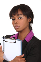A black businesswoman clipboard.
