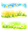 Three bright flower banners