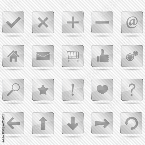 Transparent glass icons on striped background