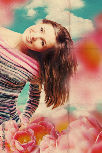 art collage with beautiful woman in tulips - 40514846