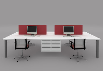 System office desks with partitions.Furniture isolated on gray