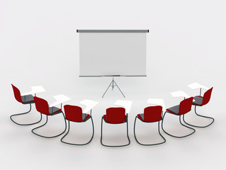 training room with marker board and chairs. isolated on a white