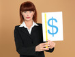 attractive, young businesswoman measuring dollar sign