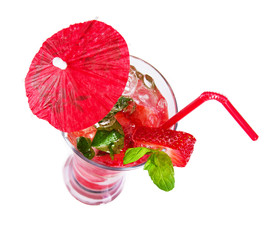 Strawberry summer drink, isolated on white background