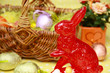 roter Osterhase & Osternest