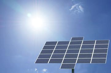 solar panel with sun and blue sky
