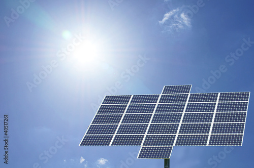 solar panel with sun and blue sky