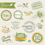 Fototapety Organic food labels and elements