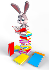 Cute easter bunny sitting On a large books Stack
