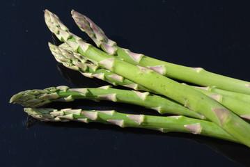 Green Asparagus Over Black