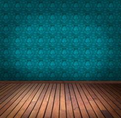 blue wallpaper room
