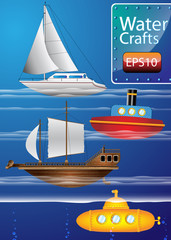 Vector set of Detailed Water Crafts