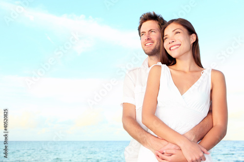 Happy beach couple portrait