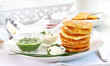 Potato pancakes with three dips