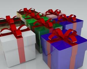 Gift packs of white background 3d illustration