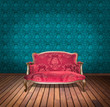 vintage red luxury armchair and in blue wallpaper room