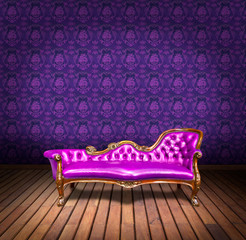 vintage luxury armchair and in purple wallpaper room