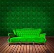 vintage luxury armchair and in green wallpaper room