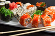 Closeup of japanese  seafood  sushi , roll and chopstick