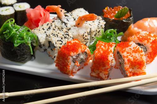 Fototapeten,sushi,eßstäbchen,close-up,kaviar