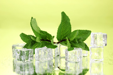 Fresh mint leaf and ice cubes with droplets on green background
