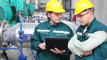 Industrial workers, teamwork