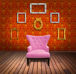Sofa and frame in yellow wallpaper room