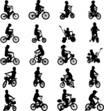 children riding bicycles - vector