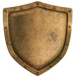aged brass or bronze metal shield isolated on white
