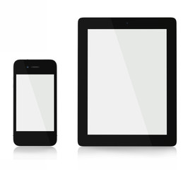 Ipad and iphone front on blank