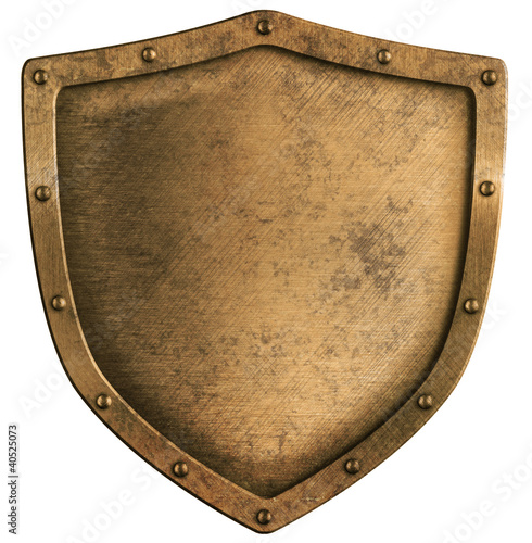 aged brass or bronze metal shield isolated on white - 40525073