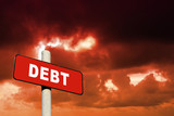 Red debt sign