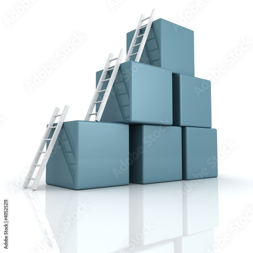 blue cubes with white ladders. success concept